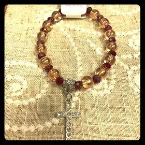 Jewelry - Stretch crystal beaded silver cross bracelet